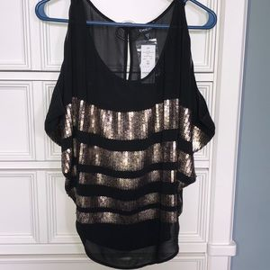 Bebe Gold Sequin Blouse